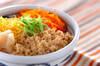 甘辛鶏そぼろとふんわり卵の4色丼の作り方の手順