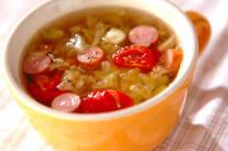 押し麦とキャベツのスープ