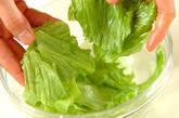 レタスと卵白のスープの下準備1