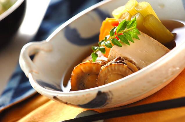 ホタテとふきと焼き豆腐の甘煮