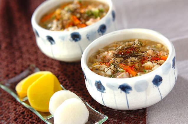 親子丼の具材で作る雑炊