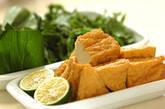 青菜と厚揚げのサッと煮の下準備1