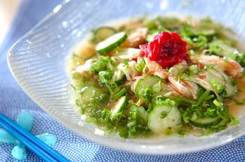 鮭とキュウリの冷や汁素麺