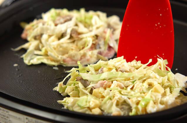 ホットプレートでお好み焼きとネギ焼きの作り方の手順9