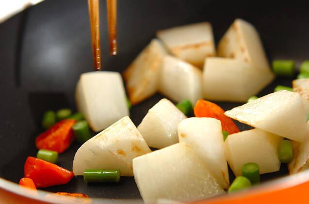 大根とニンジンの甘酢炒めの作り方の手順5