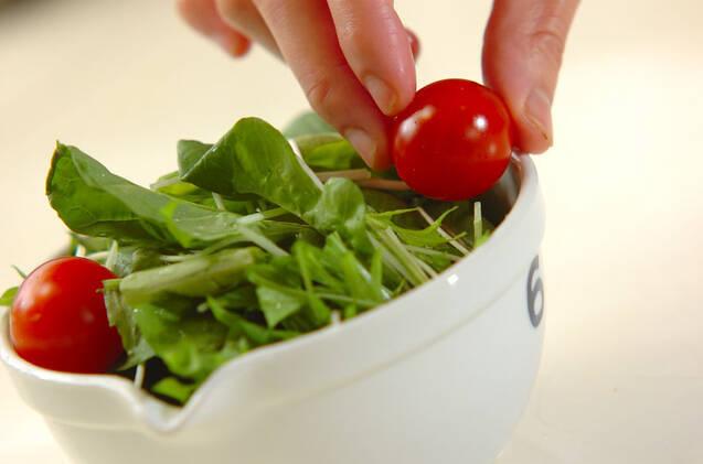 水菜とルッコラのサラダの作り方の手順5