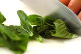 青菜とジャガイモのみそ汁の下準備1