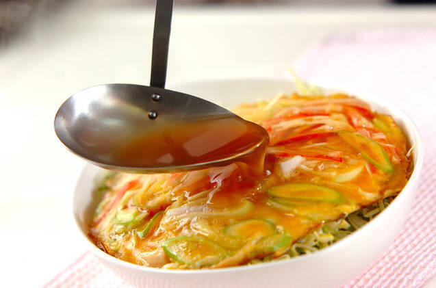 カニタマ春キャベツ丼の作り方の手順3