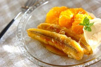 オレンジとバナナのフランベ