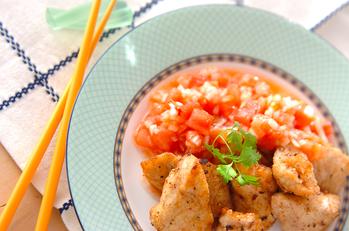 鶏の唐揚げサルサソース