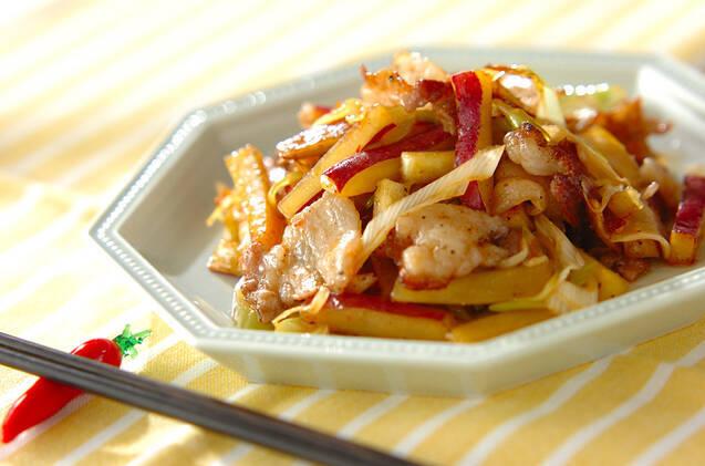 サツマイモと豚肉の中華炒め