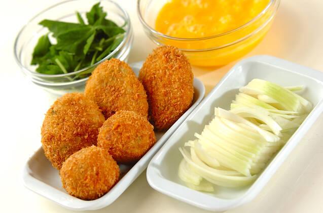 里芋のコロッケ丼の作り方の手順1