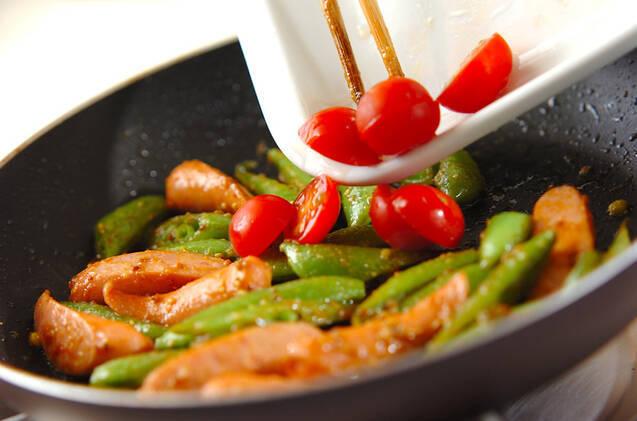 スナップエンドウのカレー炒めの作り方の手順5