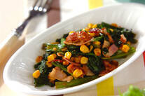 小松菜とベーコンのエスニック炒め
