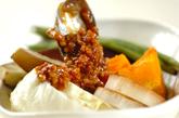 蒸し野菜のネギ肉みそのせの作り方4