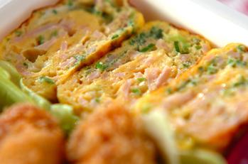 ネギとハムの卵焼き