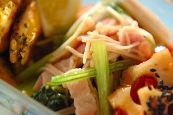 小松菜とエノキのレンジおひたし