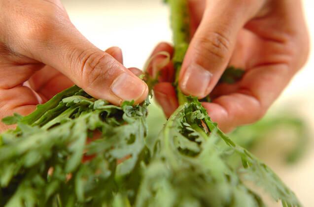 菊菜と牛肉のサラダ風の作り方の手順1