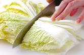 白菜カキ鍋の下準備1