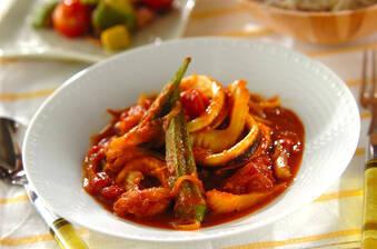 カレー風味のイカとトマトのサッと煮