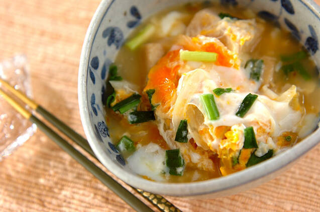 高野豆腐と玉ネギの卵とじ