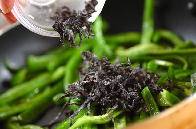簡単副菜!ピーマンの塩昆布炒めの作り方の手順3