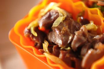 砂肝とネギの炒め物