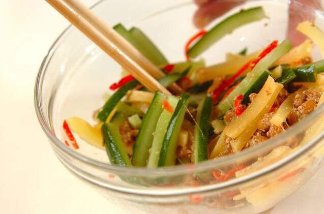 お漬け物のゴマ納豆和えの作り方の手順3