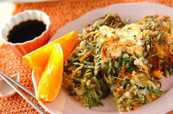 水菜とひき肉の卵焼き