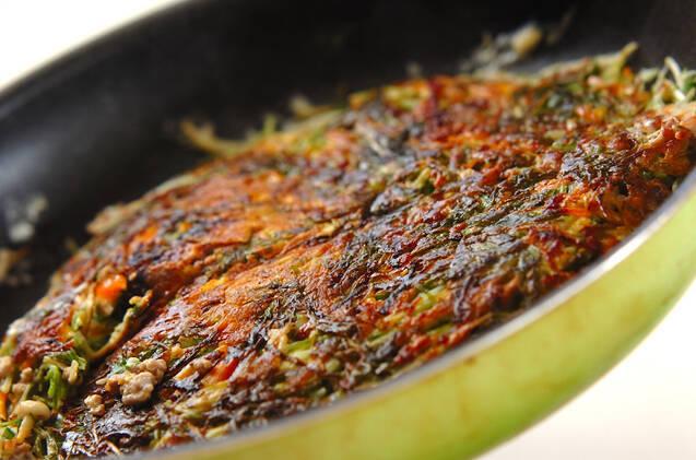 水菜とひき肉の卵焼きの作り方の手順9