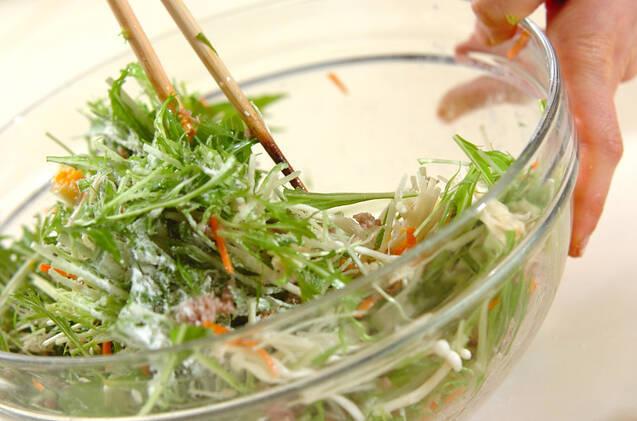 水菜とひき肉の卵焼きの作り方の手順7