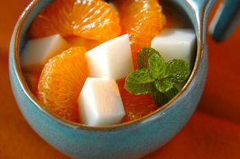 みかん入りアンニン豆腐