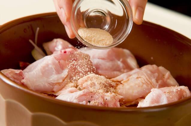 チキンピリ辛・土鍋蒸の作り方の手順3