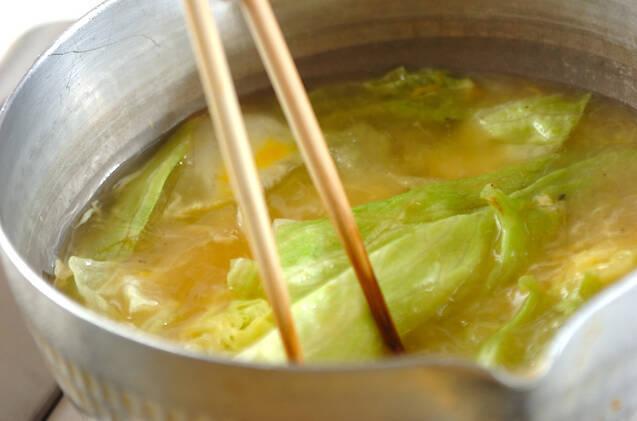 レタスのかき玉汁ペッパー風味の作り方の手順4