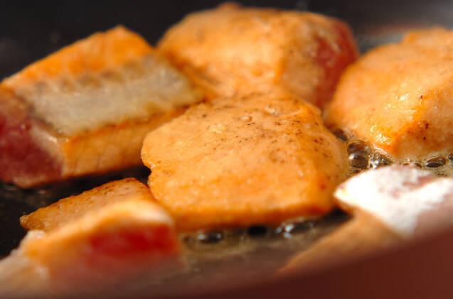 鮭とキノコの和風クリーム丼の作り方の手順4