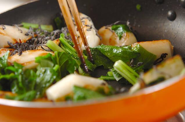 カブの塩昆布炒めの作り方の手順3