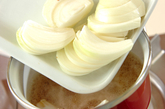 玉ネギの卵とじの作り方1