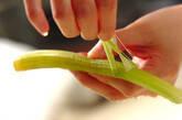フキと豆腐の梅ドレサラダの下準備1