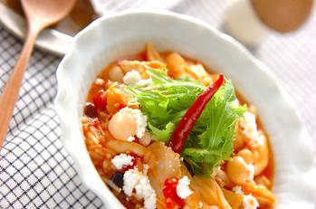 キノコのトマト雑炊