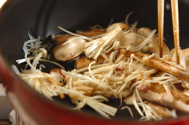 ゴボウとキノコの炒めものの作り方の手順6