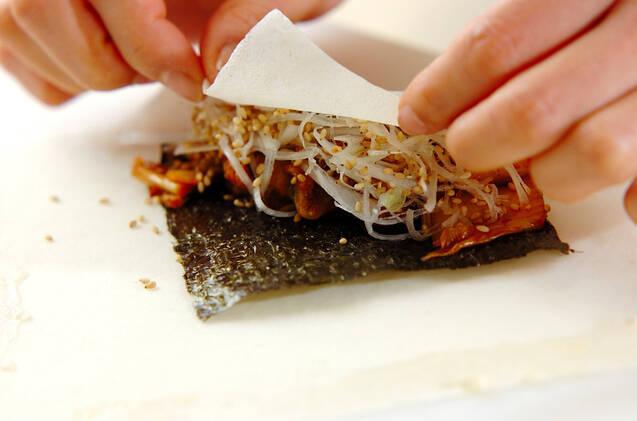 豚キムチ焼き春巻きの作り方の手順8