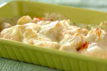 ウドとエビのチーズ焼き