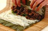 牛しぐれ入り素麺巻き寿司の作り方4