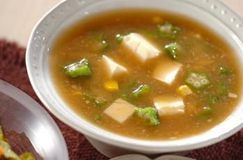 オクラのみそスープ