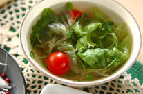 レタスのホタテ風味スープ