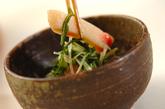 水菜とショウガ天のサッと煮の作り方2