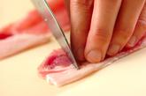 豚肉のニラソースがけの下準備1