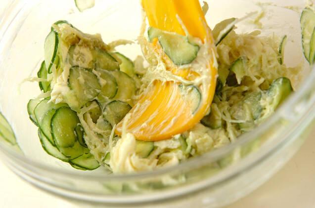 サキイカとキュウリのチーズ和えの作り方の手順2