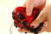 焼きパプリカと紫玉ネギのマリネの下準備1