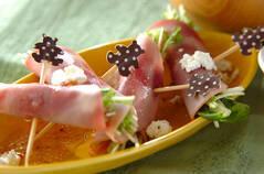 水菜とハムのサラダ
